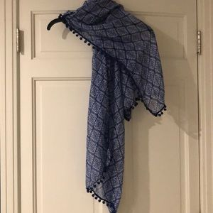 Accessories - Navy Scarf with Pom Pom Piping